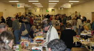 Books are a very popular item at the sale.