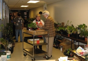 Volunteers Evelyn and Janis contribute their horticultural expertise to providing both plants and advice about gardening.